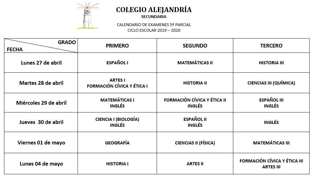 CALENDARIO DE EXÁMENES SECUNDARIA (5°PARCIAL)